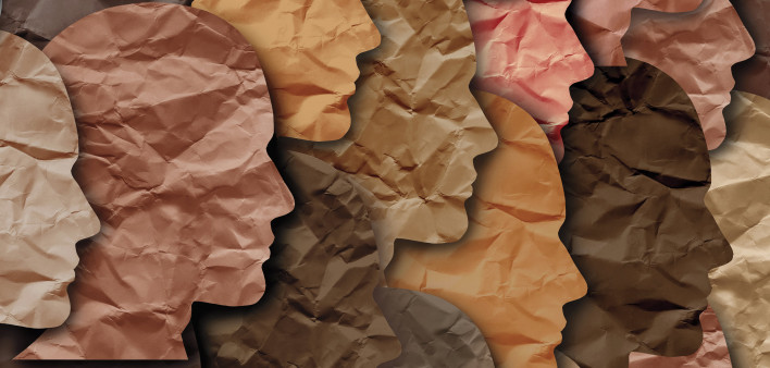 paper cut outs human heads diversity