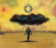 illustration of life preserver hanging over a black cloud and dark figure
