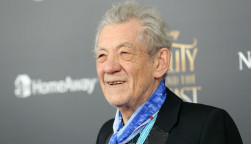 """Sir Ian McKellen attends the premiere of """"Beauty and the Beast"""" at Alice Tully Hall on April 13, 2017, in New York City."""