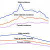 Cancer incidence and mortality over time