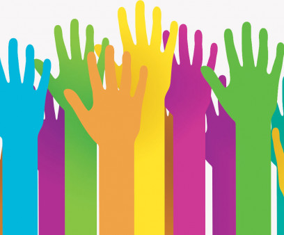 illustration of many colorful raised hands