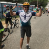 Ed Doelp at a rest stop during an American Cancer Society Bike-a-thon in Philadelphia